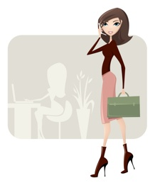 Virtual Assistant + Social Media Manager Woman with briefcase 218x258
